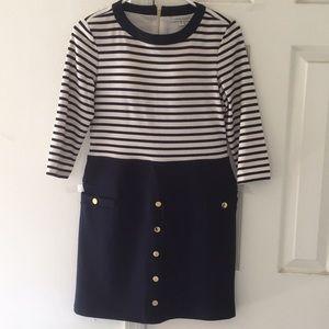 SANDRA DARREN  navy stripes dress